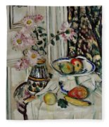 Still Life With Daisies And Fruit Fleece Blanket