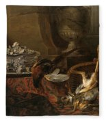 Still Life With Dead Game And A Silver Tureen On A Turkish Carpet Fleece Blanket