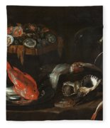 Still Life With Fish And Oysters  Fleece Blanket