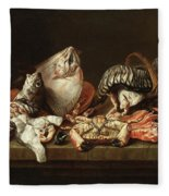 Still Life With Fishes, A Crab And Oysters Fleece Blanket