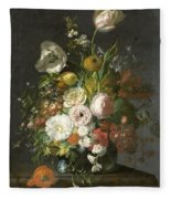 Still Life With Flowers In A Glass Vase Fleece Blanket