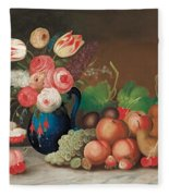 Still Life With Fruit And Flowers Fleece Blanket