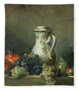 Still Life With Grapes And Pomegranates Fleece Blanket