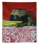 Still Life With Green Peppers Fleece Blanket