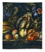 Still Life With Melons Apples Cherries Figs And Grapes On A Stone Ledge Fleece Blanket