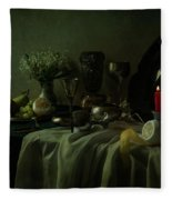 Still Life With Metal Dishes, Fruits And Fresh Flowers Fleece Blanket