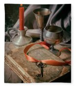 Still Life With Old Book And Metal Dishes Fleece Blanket