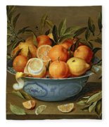 Still Life With Oranges And Lemons In A Wan-li Porcelain Dish  Fleece Blanket