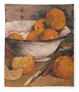 Still Life With Oranges Fleece Blanket