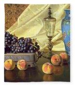 Still Life With Peaches Fleece Blanket