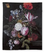 Still Life With Peonies Roses Irises Poppies And A Tulip With Butterflies A Dragonfly And Other Inse Fleece Blanket