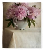 Still Life With Pink Peonies Fleece Blanket