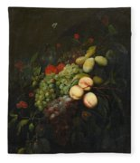 Still Life With Plums Fleece Blanket