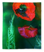 Still Life With Poppies. Fleece Blanket