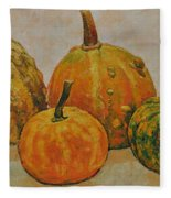 Still Life With Pumpkins Fleece Blanket