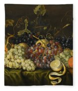 Still Life With Red Black And Green Grapes Fleece Blanket