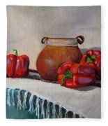 Still Life With Red Peppers Fleece Blanket