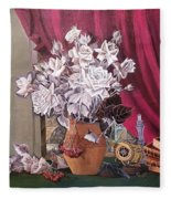 Still Life With Roses And Books Fleece Blanket