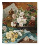 Still Life With Roses In A Cup Ornamental Object And Score Fleece Blanket
