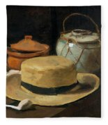 Still Life With Straw Hat, By Vincent Van Gogh, 1881, Kroller-mu Fleece Blanket