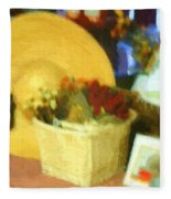 Still Life With Straw Hat Fleece Blanket