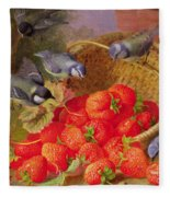 Still Life With Strawberries And Bluetits Fleece Blanket
