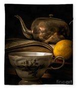 Still Life With Tea Cup Fleece Blanket