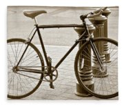 Still Life With Trek Bike In Sepia Fleece Blanket