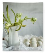 Still Life With Tulips And Eggs Fleece Blanket