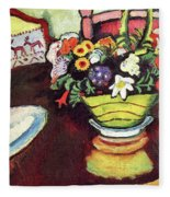 Still Life With Venison And Ostrich Pillow By August Macke Fleece Blanket