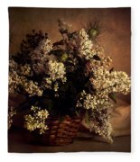 Still Life With White Flowers In The Basket Fleece Blanket