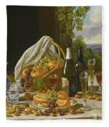 Still Life With Wine And Fruit Fleece Blanket