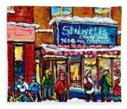Stilwell's Candy Shop Montreal Memories Lasalle Verdun Winter City Scene Hockey Art Carole Spandau   Fleece Blanket