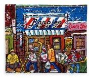 Stilwell's Candy Stop Winterscene Painting For Sale Montreal Hockey Art C Spandau Snowy Barber Shop Fleece Blanket