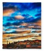 Stockholm In Bold Colors Fleece Blanket