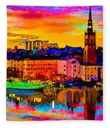 Stockholm Reflective Art Fleece Blanket