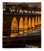 Stone Arch Bridge Night Shot Fleece Blanket