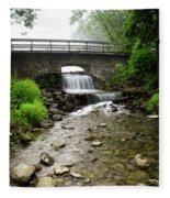 Stone Bridge Over Small Waterfall Fleece Blanket