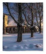 Stone Church In Oil Fleece Blanket