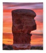 Stone Face Sunset Fleece Blanket