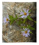 Stone Flowers Blue Fleece Blanket