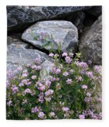 Stone Flowers Pink Fleece Blanket