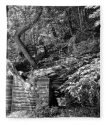 Stone Stairway Along The Wissahickon Creek In Black And White Fleece Blanket