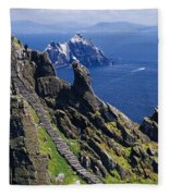 Stone Stairway, Skellig Michael Fleece Blanket