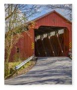 Stonelick Covered Bridge Fleece Blanket