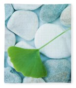 Stones And A Gingko Leaf Fleece Blanket