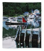 Stonington Harbor With Pier Maine Coast Fleece Blanket