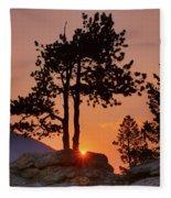 Stop Right Here - Rocky Mountain Np - Sunrise Fleece Blanket