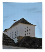 Stork And Nest On Roof In Faro. Portugal Fleece Blanket