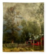 Storm Approaching White Birch Cottage Fleece Blanket